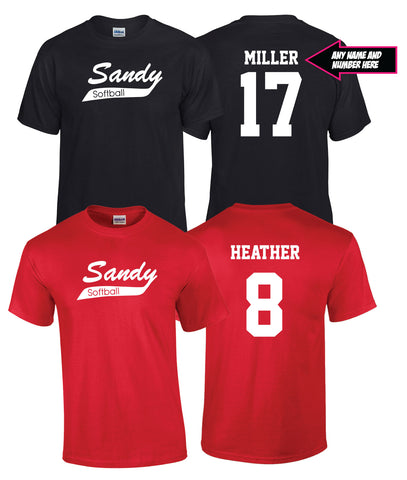 Sandy Softball T-Shirt with Custom Name and Number