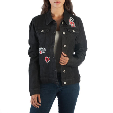 Harley Quinn Juniors Black Denim Jacket