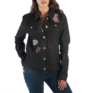 Additional image of Harley Quinn Juniors Black Denim Jacket
