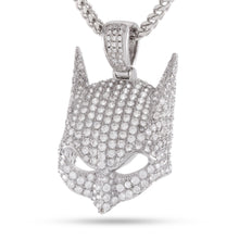 Additional image of Batman Mask White Gold Necklace With Stones