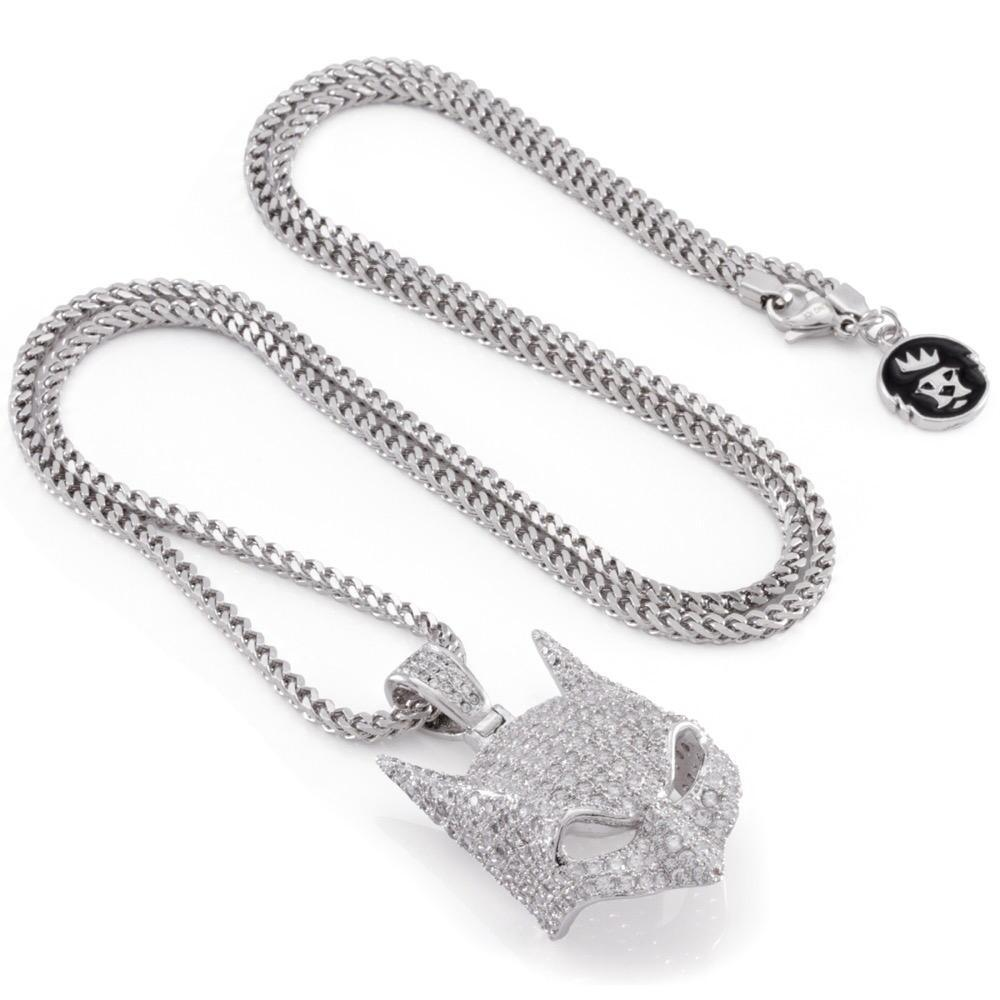 Batman Mask White Gold Necklace With Stones