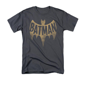 Batman 1966 Vintage Logo Adult Charcoal T-shirt