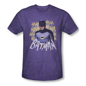 Batman 1966 Theme Song Adult Premium Purple Heather T-shirt