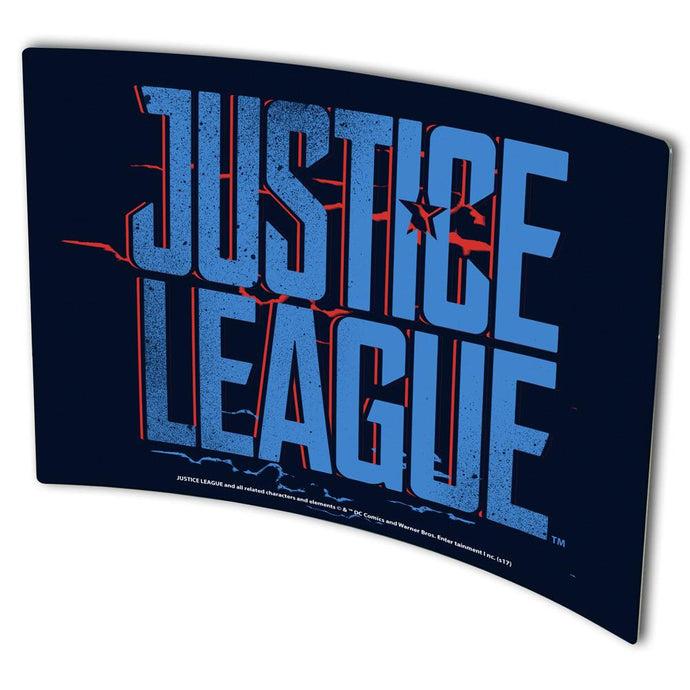 Justice League Movie Blue & Red Logo Curved Metal Print