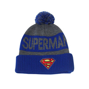 Superman Knit Cuff Pom Beanie