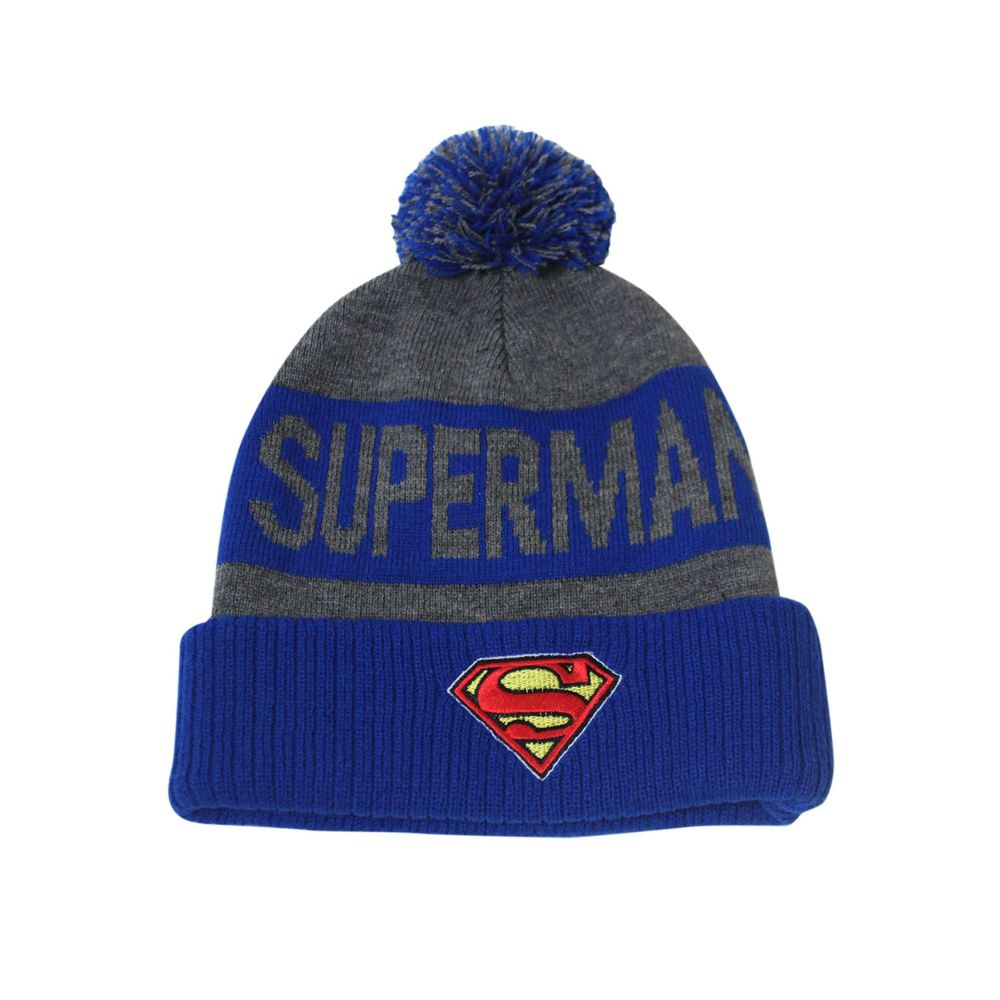 Superman Gray & Blue Pom-Pom Knit Beanie