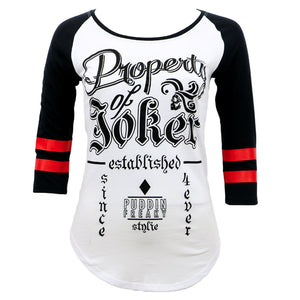 Suicide Squad Property of Joker Juniors Raglan T-shirt
