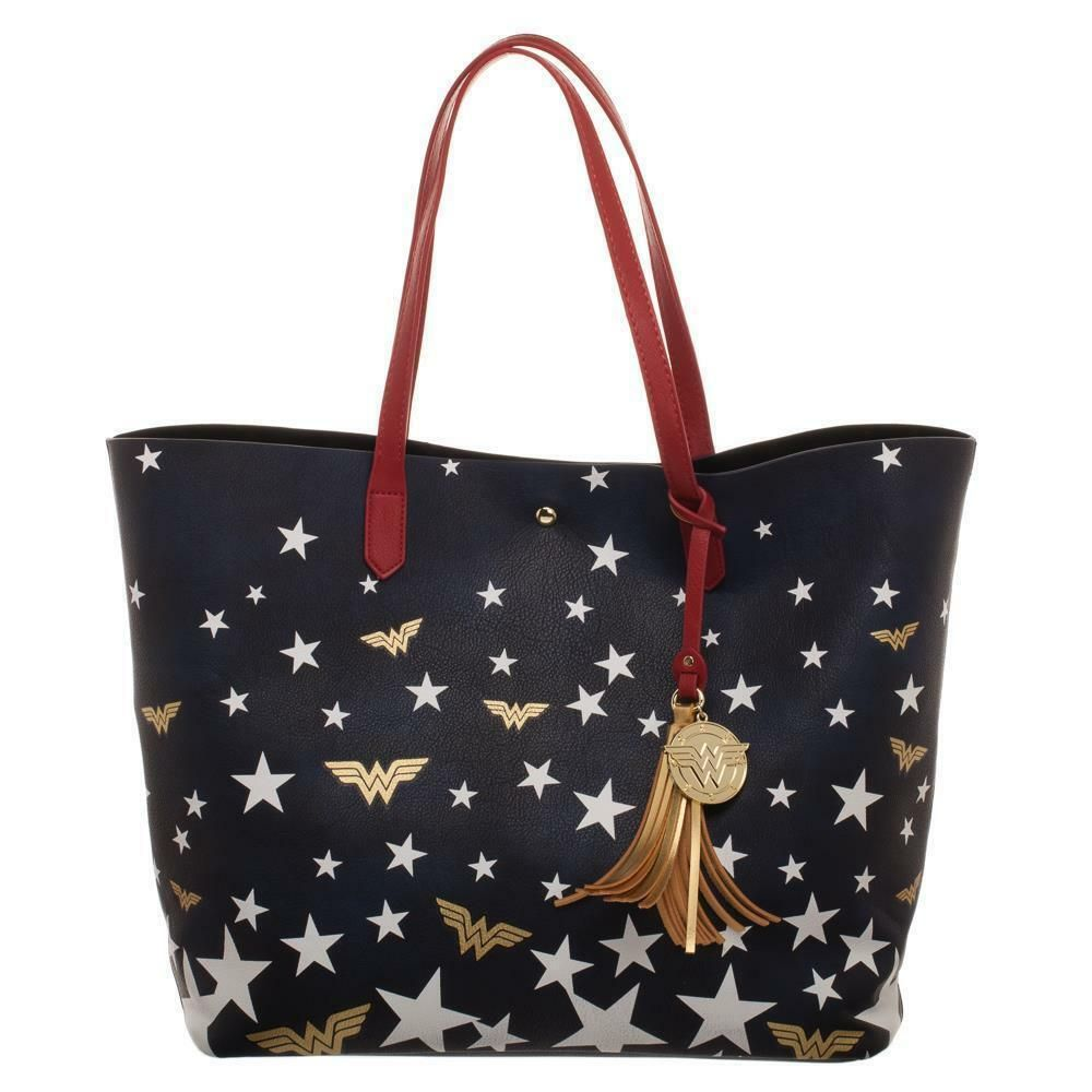 Wonder Woman Logo & Stars Oversized Tote Bag