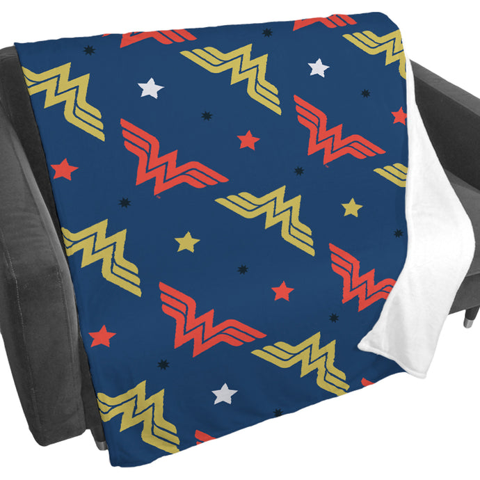 Wonder Woman Stars Pattern Fleece Blanket