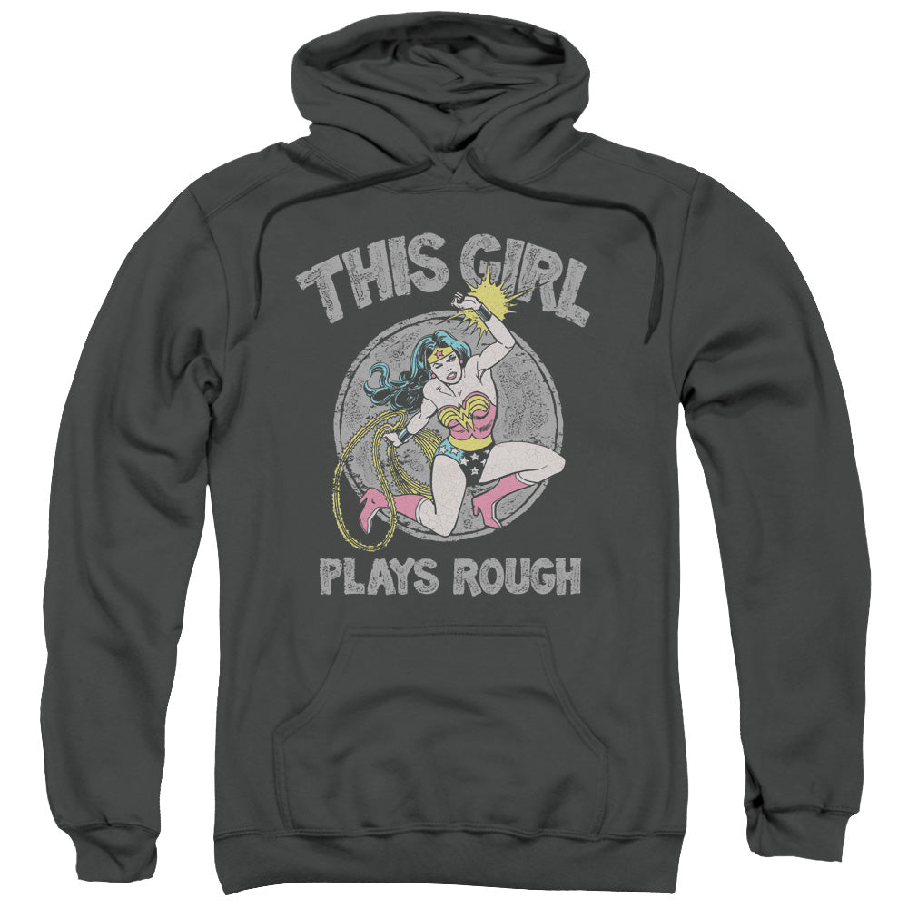 Wonder Woman This Girl Plays Rough Adult Charcoal Hoodie