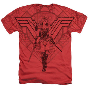Wonder Woman Movie Battle Ready Adult Heather Sublimated T-Shirt