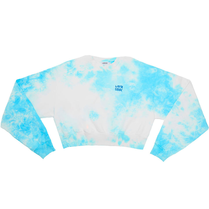 WAVY EMBROIDERED CROP SWEATSHIRT - SKY TIE DYE