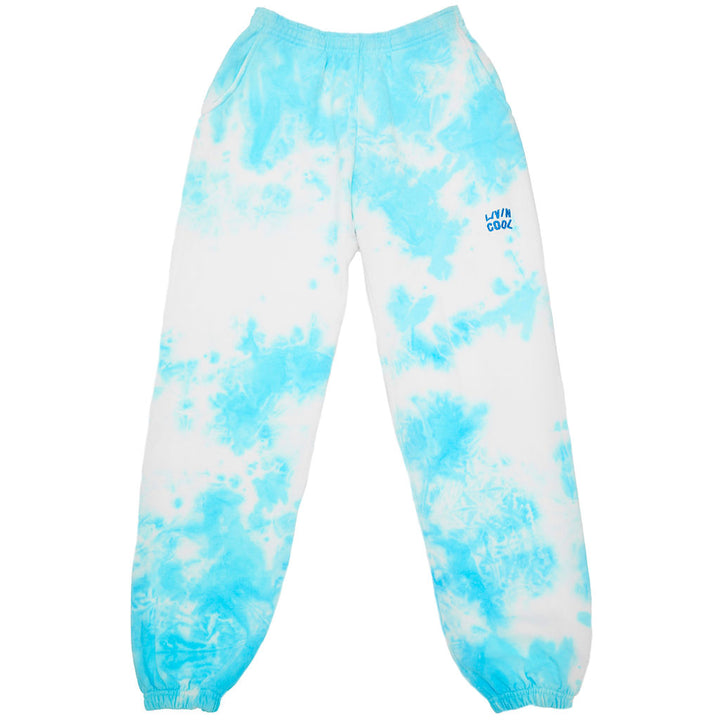 WAVY EMBROIDERED SWEATPANTS - SKY TIE DYE