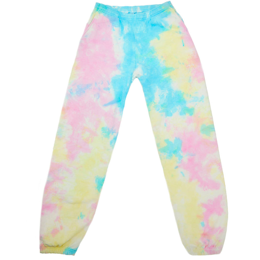 WAVY EMBROIDERED SWEATPANTS - PASTEL TIE DYE