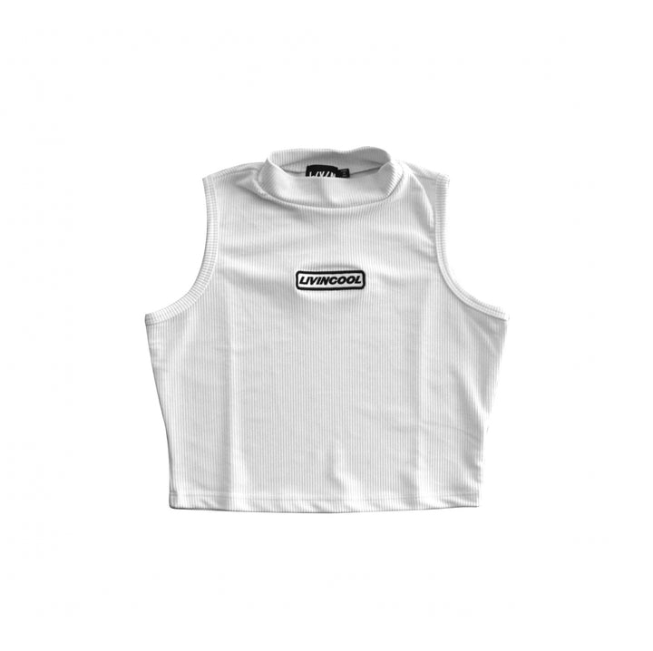 SLICK PATCH MOCK NECK CROP TOP - WHITE
