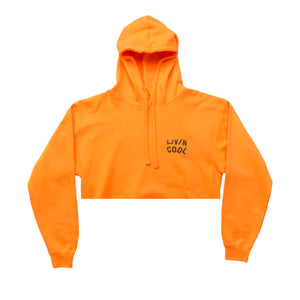 WAVY CROPPED HOODIE-ORANGE