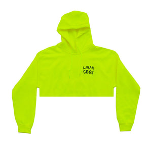 WAVY CROPPED HOODIE-SAFETY GREEN