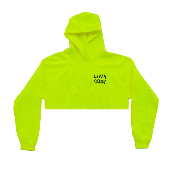 LIVINCOOL SAFETY GREEN CROPPED HOODIE
