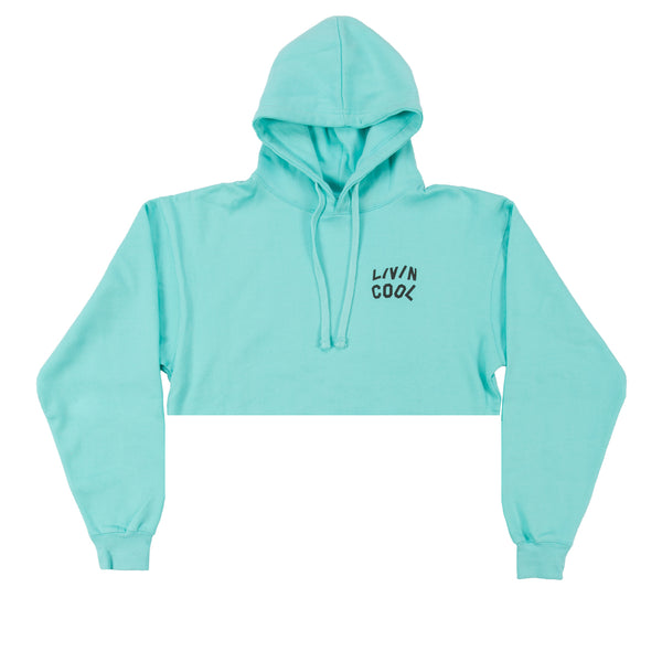 LIVINCOOL LIGHT BLUE CROPPED HOODIE