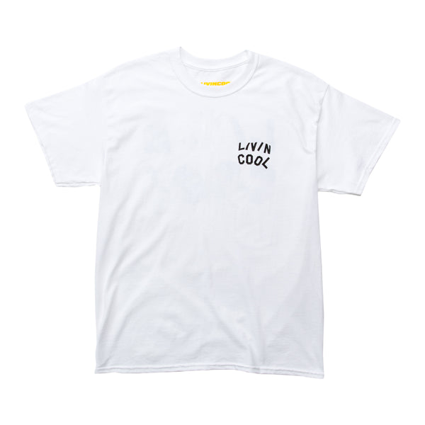 LIVINCOOL WAVY LOGO WHITE T-SHIRT