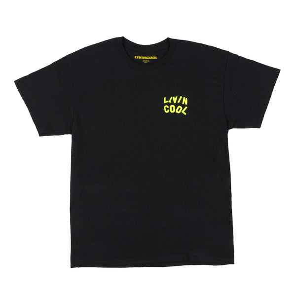 LIVINCOOL WAVY SAFETY GREEN LOGO BLACK T-SHIRT
