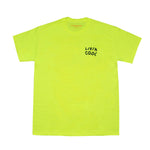 LIVINCOOL WAVY BLACK LOGO SAFETY GREEN T-SHIRT