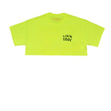 LIVINCOOL WAVY BLACK LOGO SAFETY GREEN CROP TOP