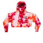 LIVINCOOL TIEDYE HOODIE RED ORANGE CROPPED