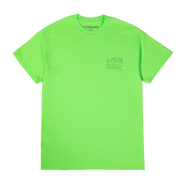 LIVINCOOL WAVY OUTLINE LIMEGREEN T-SHIRT