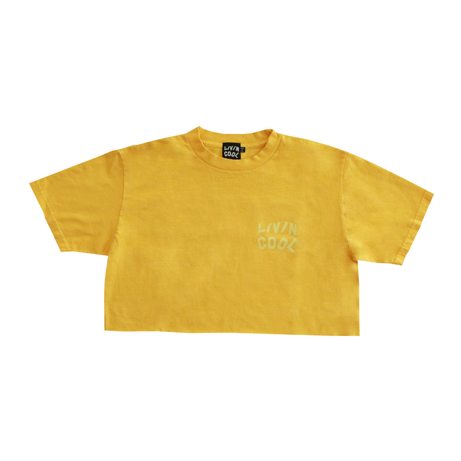 TONE-ON-TONE WAVY CROP TOP - SUNFLOWER YELLOW