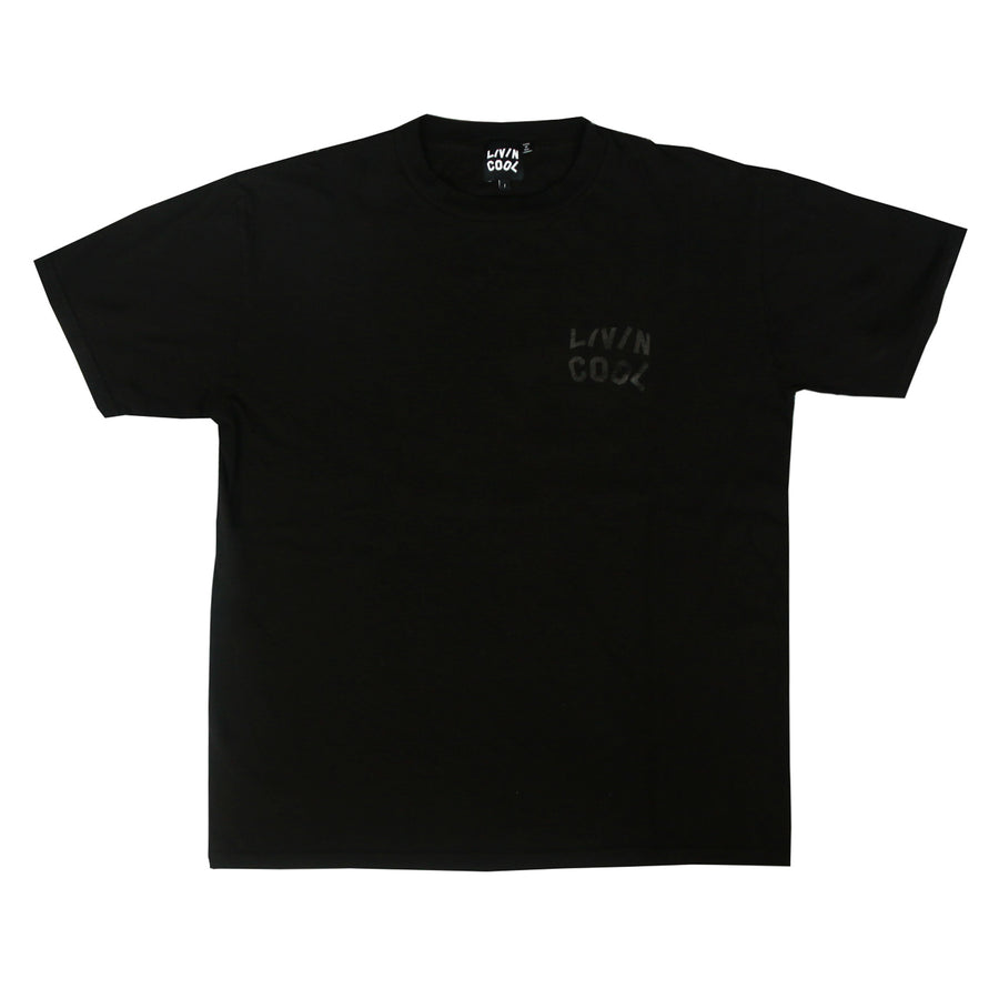 TONE-ON-TONE WAVY T-SHIRT - BLACK