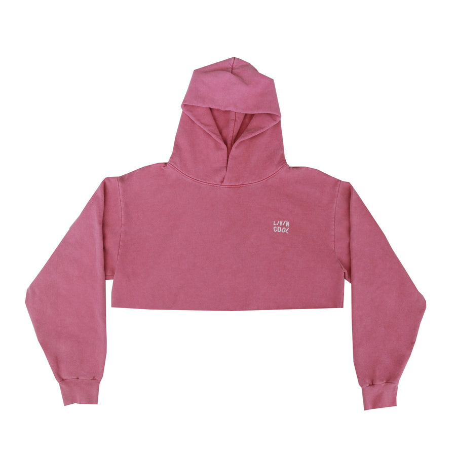 WAVY WASHED EMBROIDERED CROP HOODIE - PINK