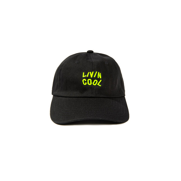LIVINCOOL BLACK CAP SAFETY GREEN WAVY LOGO
