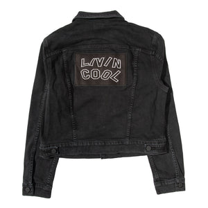 WAVY DENIM JACKET-BLACK