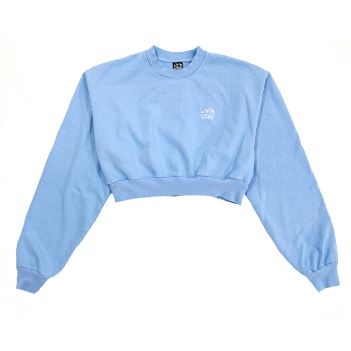 EMBROIDERED WAVY CROPPED SWEATSHIRT - SKY BLUE