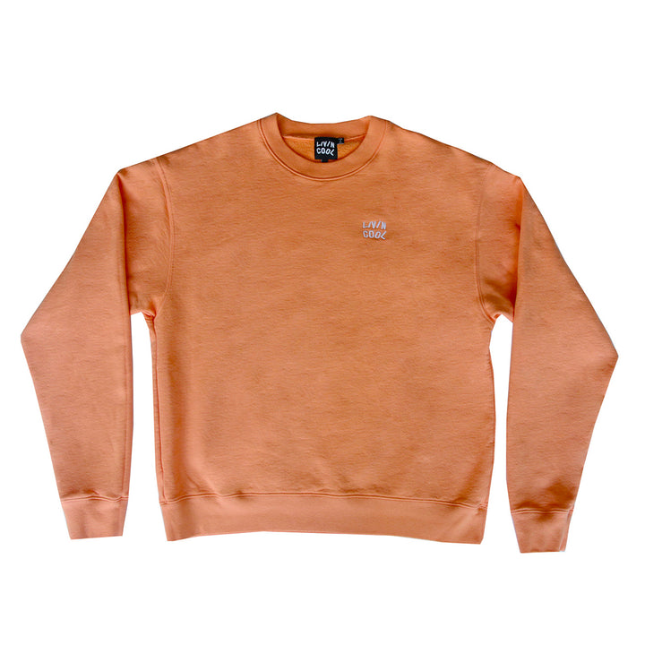 WAVY WASHED EMBROIDERED CREWNECK - ORANGE JULIUS
