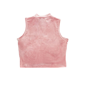 MOCK NECK VELVET CROP TOP - PINK