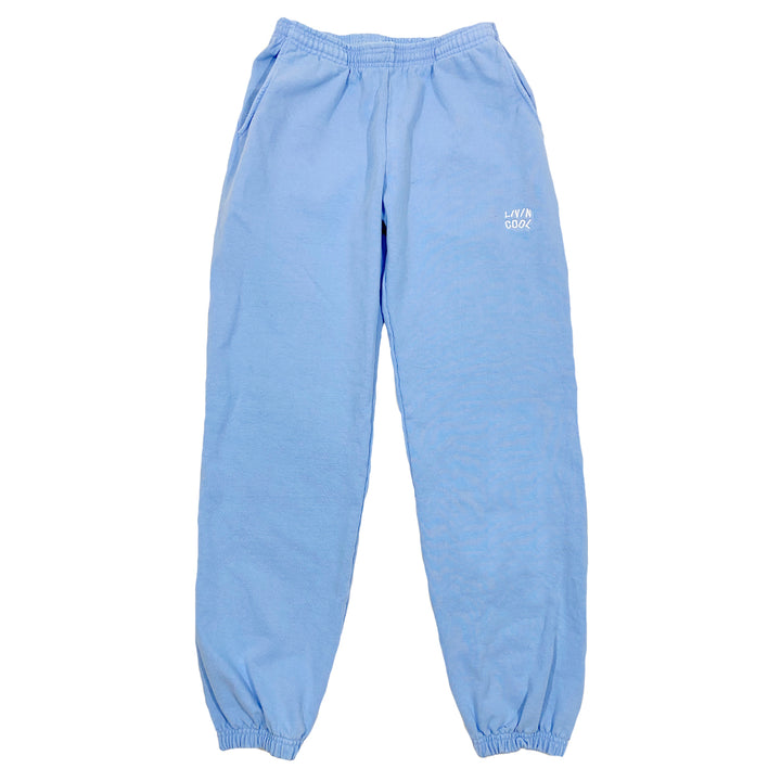 EMBROIDERED WAVY SWEATPANT - SKY BLUE