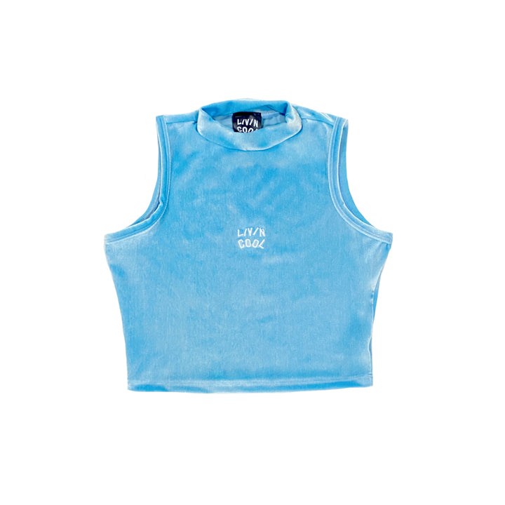 MOCK NECK VELVET CROP TOP - SKY BLUE