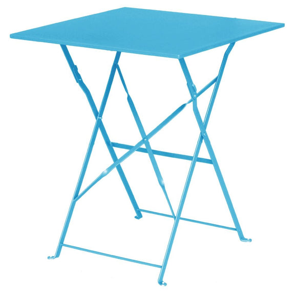Bolero Seaside Blue Pavement Style Steel Table Square 600mm - From as little as $0.36 per day