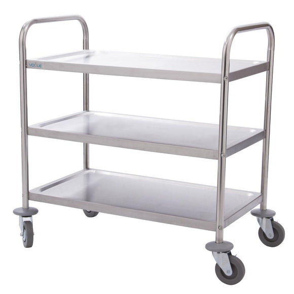 Vogue Stainless Steel 3 Tier Clearing Trolley Large - From as little as $0.46 per day
