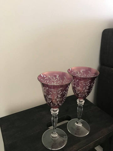wine glasses purple