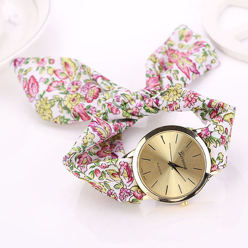 relojes mujer Womens Floral Jacquard Cloth Quartz Bracelet Watch Wristwatch Cloth fabric Watch vrouwen horloge