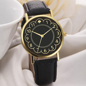 Fashion Women PU Leather Black Watch Women Quartz Wrist Watch Women's PU Leather Strap Watches reloj mujer
