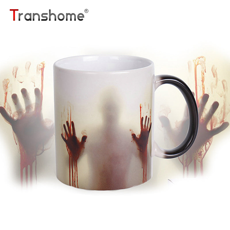 Transhome Walking Dead Color Changing Coffee Mug 350ml Bloody Hands Design Heat Sensitive Magic Coffee Mugs Gifts The Right Cup
