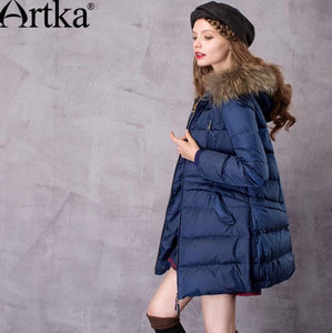 Artka Women's Mid-Length Down Coat With Raccoon Fur Hood With 90% Down Parka Female Long Winter Puffer Jacket ZK11669D
