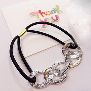 2PCS Women Girl Hair Ring Hollow Hair Tie Head Hair Accessory  BK