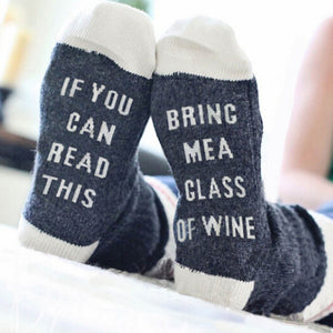Funny Couple Socks Letter Print Stylish Wine Socks If You can read this Bring Me a Glass of Wine