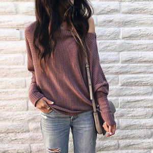 Women Loose Casual off Shoulder Long Sleeve Knit Sweater Blouse Tops T-Shirt