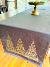 Lawi Ayam Table Runner ( slate grey with gold songket motif)